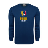 Navy Long Sleeve T Shirt-Est Yeat Stacked With Phi Badge