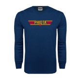 Navy Long Sleeve T Shirt-Top Gun Style