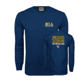 Navy Long Sleeve T Shirt-Greek Letters Stacked