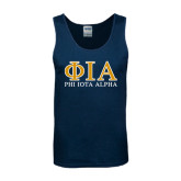 Navy Tank Top-Greek Letters Stacked