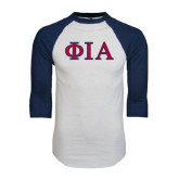 White/Navy Raglan Baseball T-Shirt-Official Greek Letters Two Color