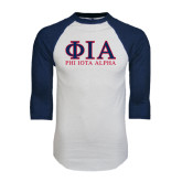 White/Navy Raglan Baseball T-Shirt-Greek Letters Stacked