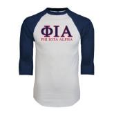 White/Navy Raglan Baseball T-Shirt-Greek Letters Stacked