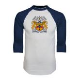 White/Navy Raglan Baseball T-Shirt-Crest