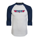 White/Navy Raglan Baseball T-Shirt-Top Gun Style
