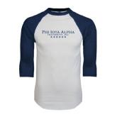 White/Navy Raglan Baseball T-Shirt-PHI Stars