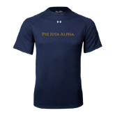 Under Armour Navy Tech Tee-Wordmark Flat