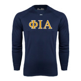 Under Armour Navy Long Sleeve Tech Tee-Official Greek Letters Two Color