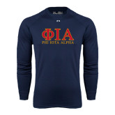 Under Armour Navy Long Sleeve Tech Tee-Greek Letters Stacked