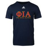 Adidas Navy Logo T Shirt-Greek Letters Stacked