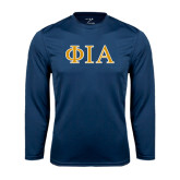 Syntrel Performance Navy Longsleeve Shirt-Official Greek Letters Two Color