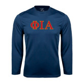Performance Navy Longsleeve Shirt-Official Greek Letters Two Color