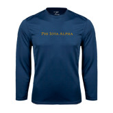 Performance Navy Longsleeve Shirt-Wordmark Flat