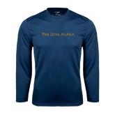 Syntrel Performance Navy Longsleeve Shirt-Wordmark Flat