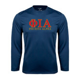Performance Navy Longsleeve Shirt-Greek Letters Stacked