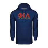 Under Armour Navy Performance Sweats Team Hoodie-Greek Letters Stacked
