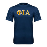 Syntrel Performance Navy Tee-Official Greek Letters Two Color