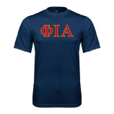 Performance Navy Tee-Official Greek Letters Two Color