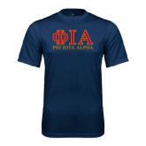 Performance Navy Tee-Greek Letters Stacked