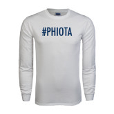 White Long Sleeve T Shirt-Hashtag PHIOTA