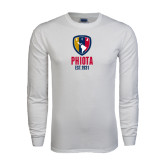 White Long Sleeve T Shirt-Est Yeat Stacked With Phi Badge