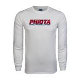 White Long Sleeve T Shirt-Phiota Polygon Reflection