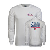 White Long Sleeve T Shirt-Greek Letters Stacked