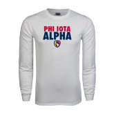 White Long Sleeve T Shirt-PHI IOTA ALPHA Stacked with Badge