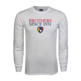 White Long Sleeve T Shirt-Brothers Since 1931