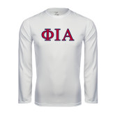 Syntrel Performance White Longsleeve Shirt-Official Greek Letters Two Color
