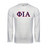 Performance White Longsleeve Shirt-Official Greek Letters Two Color