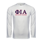 Syntrel Performance White Longsleeve Shirt-Greek Letters Stacked