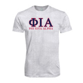 Next Level Heather White Tri Blend Crew-Greek Letters Stacked