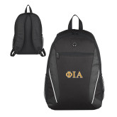 Atlas Black Computer Backpack-Official Greek Letters Two Color