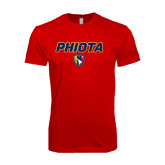Next Level SoftStyle Red T Shirt-PHI IOTA ALPHA Grid Gradiation