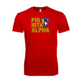 Next Level SoftStyle Red T Shirt-PHI IOTA ALPHA Stacked Left with Badge