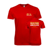 Next Level SoftStyle Red T Shirt-Greek Letters Stacked