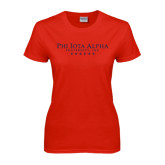 Ladies Red T Shirt-PHI Stars