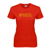 Ladies Red T Shirt-Hashtag PHIOTA
