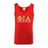 Red Tank Top-Greek Letters Stacked