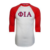 White/Red Raglan Baseball T-Shirt-Official Greek Letters Two Color