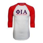 White/Red Raglan Baseball T-Shirt-Greek Letters Stacked