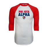 White/Red Raglan Baseball T-Shirt-PHI IOTA ALPHA Stacked with Badge