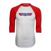 White/Red Raglan Baseball T-Shirt-Top Gun Style