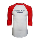 White/Red Raglan Baseball T-Shirt-PHI Stars
