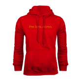 Red Fleece Hoodie-Wordmark Flat