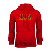 Red Fleece Hoodie-Greek Letters Stacked