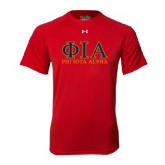 Under Armour Red Tech Tee-Greek Letters Stacked
