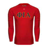 Under Armour Red Long Sleeve Tech Tee-Official Greek Letters Two Color