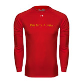 Under Armour Red Long Sleeve Tech Tee-Wordmark Flat